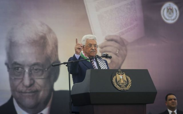 Palestinian Authority President Mahmoud Abbas speaking during a rally marking the 12th anniversary of the death of late Palestinian leader Yasser Arafat in the West Bank city of Ramallah, November 10, 2016. (Flash90)