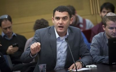 Matan Peleg, CEO of Im Tirtzu, attends a Knesset discussion on 'Breaking the Silence' organization's presence in Israeli schools on December 28, 2016. (Miriam Alster/Flash90)