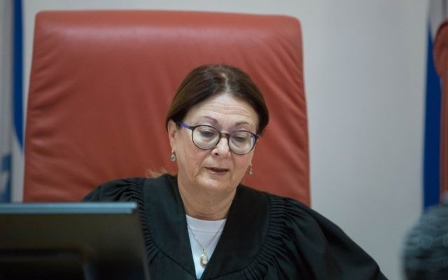Supreme Court Justice Esther Hayut presiding over an appeal at the Supreme Court in Jerusalem on January 2, 2017. (Flash90)
