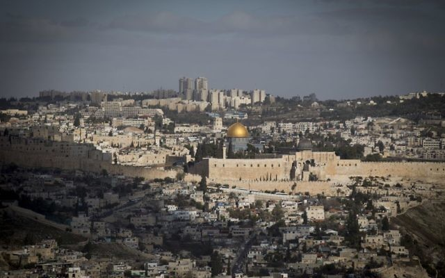View of Jerusalem showing the Old City in the foreground against new parts of the city in the background, January 9, 2017. (Yonatan Sindel/Flash90)