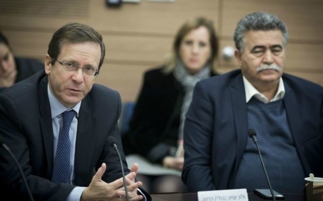 Zionist Union chairman MK Isaac Herzog, left, and fellow Labor MK Amir Peretz, right, at a Knesset committee meeting on February 1, 2017. (Yonatan Sindel/Flash90)