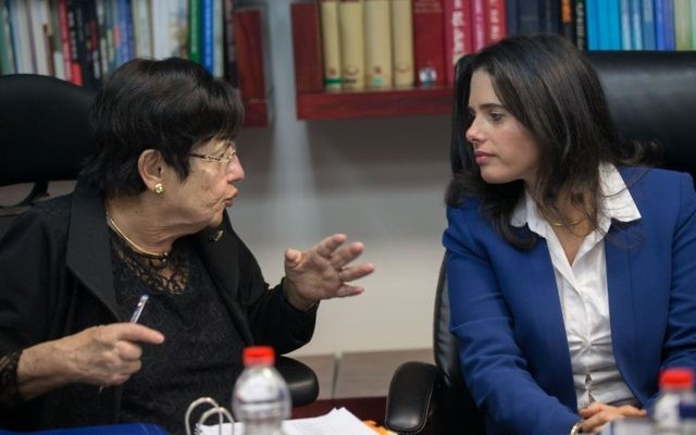 Justice Minister Ayelet Shaked (R) seen with Supreme Court president Miriam Naor during a Judicial Selection Committee meeting at the Ministry of Justice in Jerusalem on February 22, 2017. (Yonatan Sindel/Flash 90)