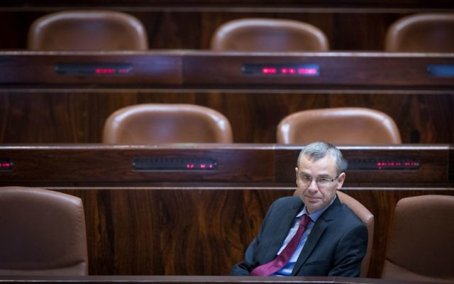 Israeli Minister of Tourism Yariv Levin seen at the Israeli parliament during a vote on a law changing the structure of the new Israel Broadcast Corporation news division, at the assembly hall of the Israeli parliament, April 25, 2017. (Yonatan Sindel/Flash90)