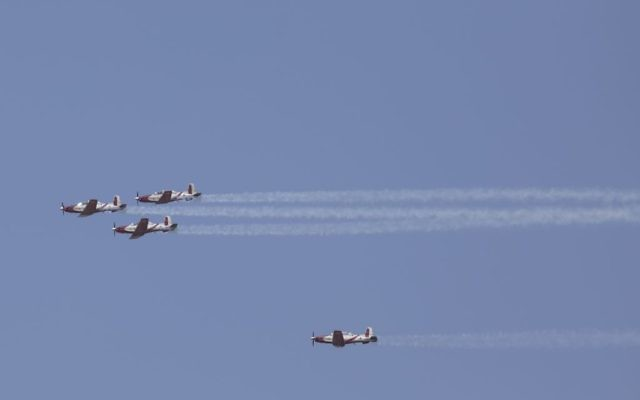 The Israeli Air Force aerobatic team fly during training for the upcoming Israel's 69th Independence day air show in Jerusalem, April 28, 2017. (Yonatan Sindel/Flash90)
