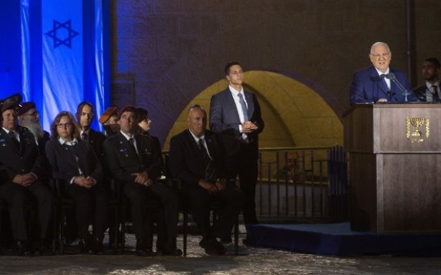 President Reuven RIvlin speaks during a Memorial Day ceremony at the Western Wall, Judaism's holiest site, in Jerusalem's Old City, April 30, 2017. Hadas Parush/Flash90)