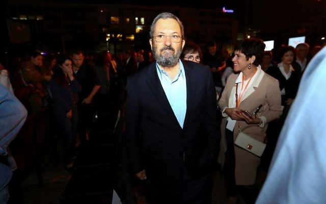 Former prime minister Ehud Barak at a Memorial Day event at Tel Aviv's Rabin Square on April 30, 2017.(Shlomi Cohen/Flash90)
