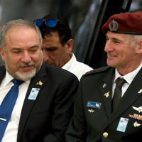 Defense Minister Avigdor Liberman (l) and IDF Deputy Chief of the Staff Major General Yair Golan at a ceremony marking Israel's Memorial Day in Tel Aviv on May 1, 2017. (Gili Yaari/Flash90)