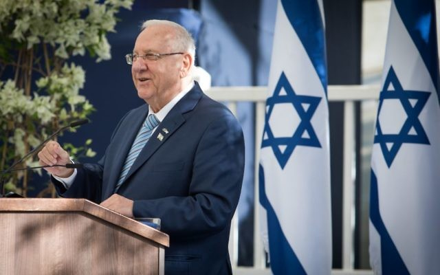 File: President Reuven Rivlin speaks at a reception for diplomats in Israel marking the country's 69th Independence Day, at the President's Residence in Jerusalem, May 2, 2017. (Yonatan Sindel/Flash90)