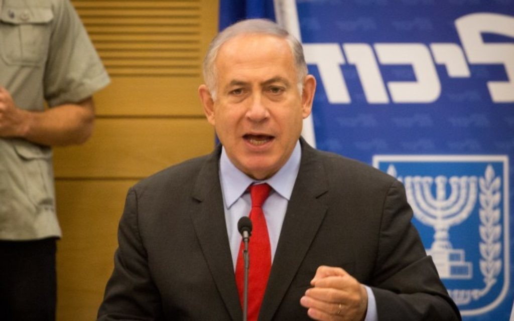 Prime Minister Benjamin Netanyahu attends a Likud faction meeting in the Knesset on May 08, 2017. (Miriam Alster/FLASH90)