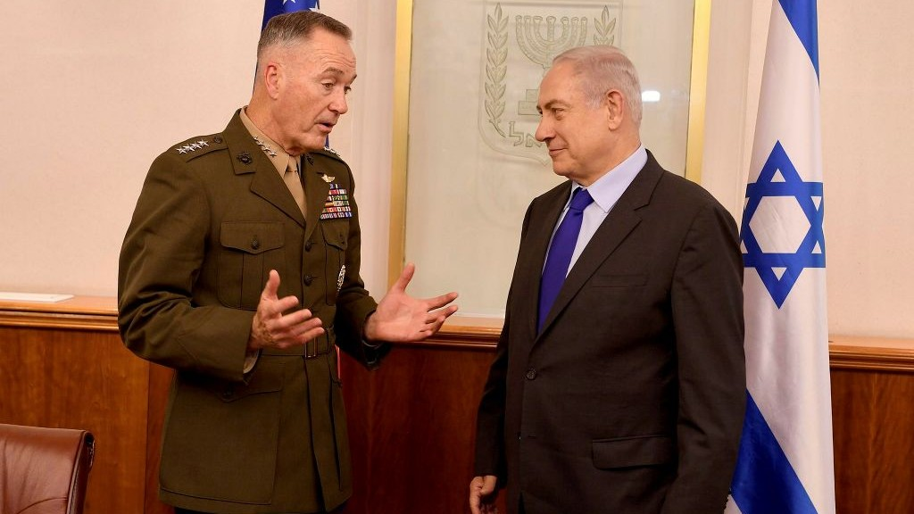 Chairman of the US Joint Chiefs of Staff General Joseph Dunford meets with Prime Minister Benjamin Netanyahu at the Prime Minister's Office in Jerusalem, on May 9, 2017. (Matty Stern/US Embassy in Tel Aviv)