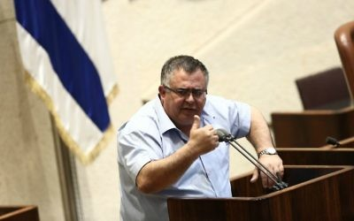 MK David Bitan seen during a plenum session in the Israeli parliament on May 10, 2017. (Miriam Alster/Flash90)
