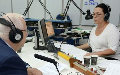President Reuven Rivlin is interviewed on the last day of broadcasts of the Israel Broadcasting Authority's Israel Radio on May 10, 2017. (Mark Neyman/GPO)