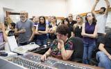 Israel Radio employees during their final broadcast on May 10, 2017. (Noam Revkin Fentonr/Flash90)