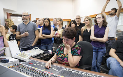 Israel Radio employees during their final broadcast on May 10, 2017. (Noam Revkin Fentonr/Flash90)
