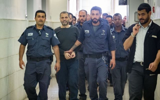 Suspected members of the Islamic Movement's Northern Branch are brought to Jerusalem District Court, on May 11, 2017. (Hadas Parush/Flash90)