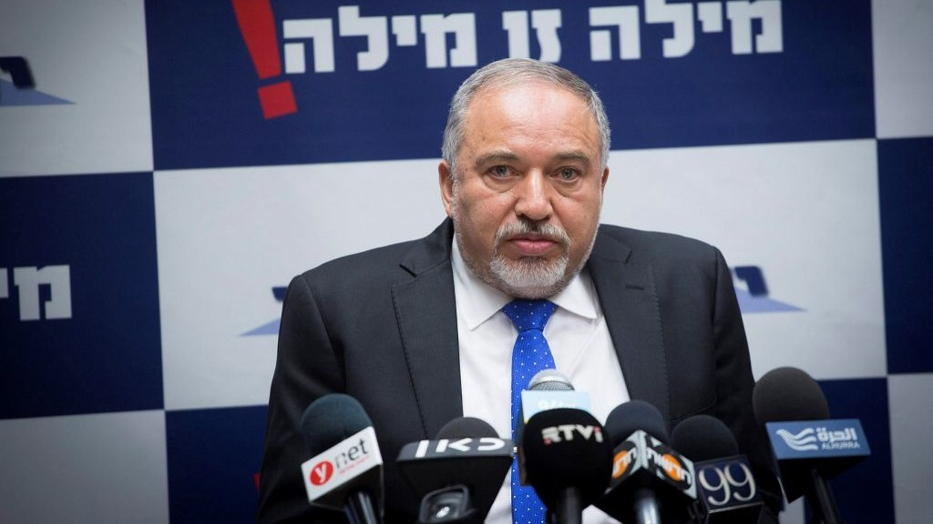 Defense Ministor Avigdor Liberman leads a faction meeting of his Yisrael Beytenu party at the Knesset on May 15 2017. (Miriam Alster/Flash90)