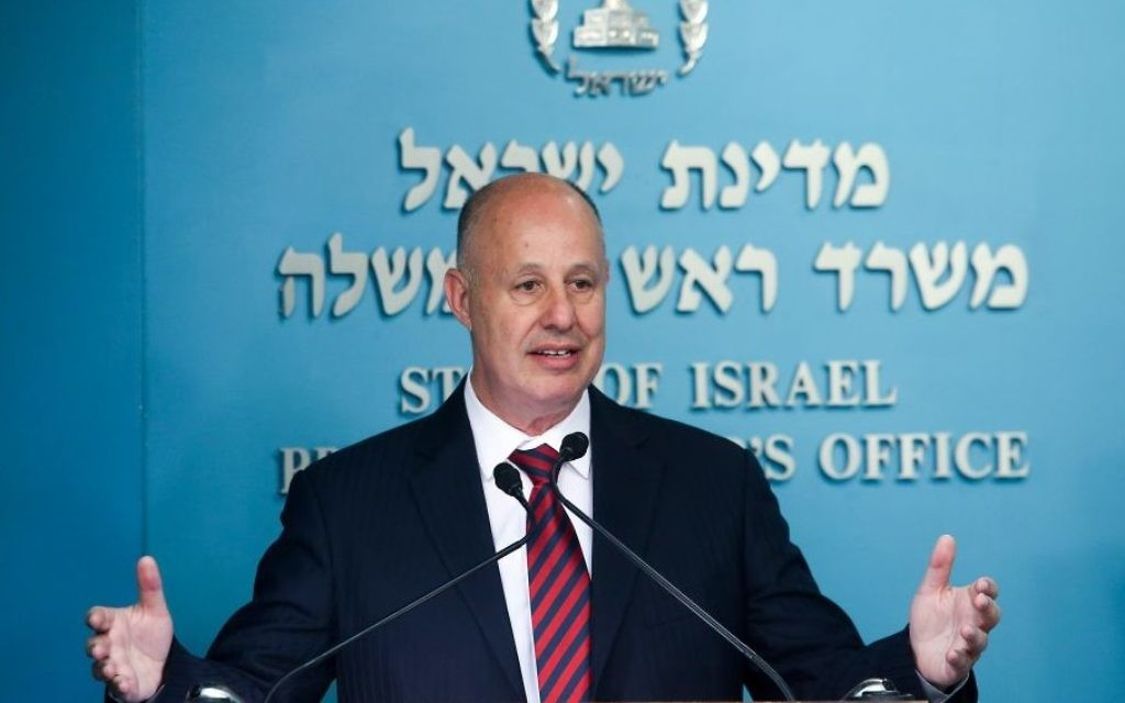 Former interim communications minister Tzachi Hanegbi speaks at a stamp issuance for Etzel fighters at the Prime Minister Office in Jerusalem on May 17, 2017. (Marc Israel Sellem/POOL)