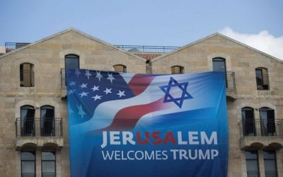 A poster welcoming US President Donald Trump ahead of his visit to Israel seen in Jerusalem on May 19, 2017. (Yonatan Sindel/Flash90)