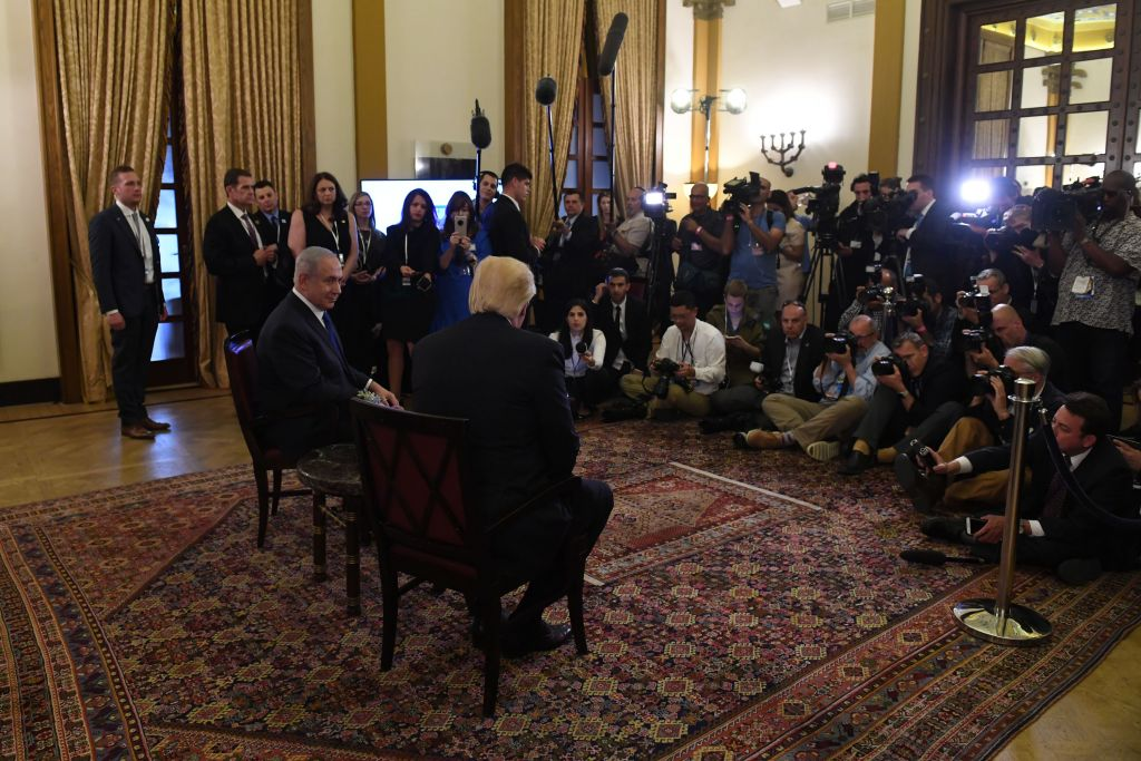 US President Donald Trump meets with Israeli Prime Minister Benjamin Netanyahu at the King David hotel in Jerusalem on May 22, 2017 (Kobi Gideon / GPO)