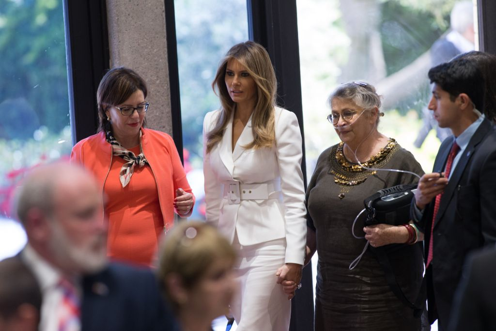 First Lady Melania Trump and Nehama Rivlin at the president's residence on Tuesday, May 22, 2017 (Yonatan Sindel/Flash 90)
