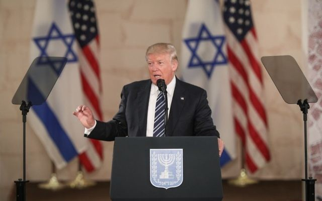 US president Donald Trump delivers his final speech at the Israel Museum in Jerusalem before his departure, on May 23, 2017. (Yonatan Sindel/Flash90)