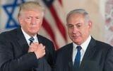 US President Donald Trump, left, and Prime Minister Benjamin Netanyahu shake hands after giving final remarks at the Israel Museum in Jerusalem before Trump's departure, May 23, 2017. (Yonatan Sindel/Flash90)