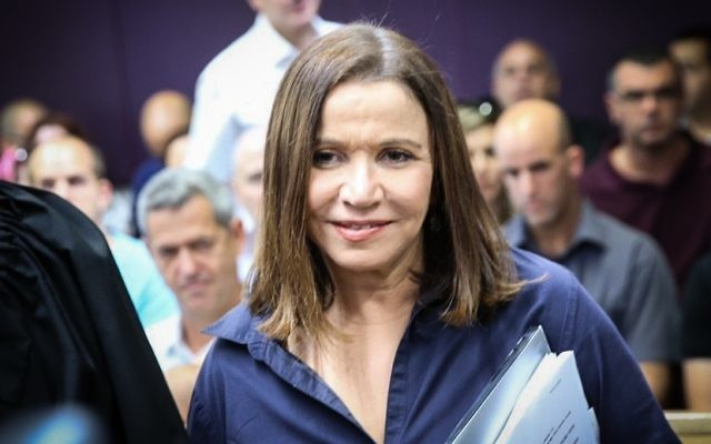 Zionist Union MK Shelly Yachimovich arrives at the Tel Aviv District Court to try to stop the counting of votes during the Histadrut labor union leadership elections, claiming ballots had been tampered with, May 25, 2017. (Flash90)
