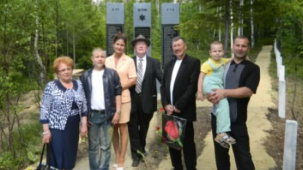 The Chernykh family at the June 2014 dedication of the Shalom Memorial in Irkutsk, Russia. (YouTube)