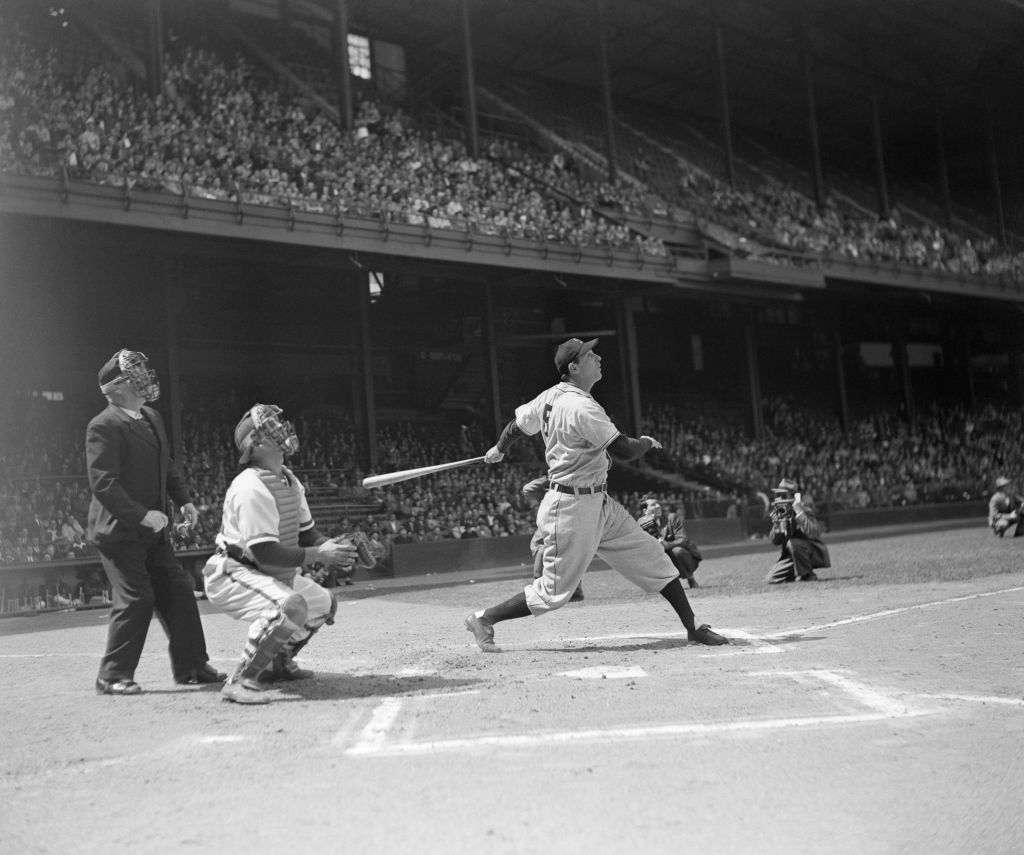 Hank Greenberg hitting a third inning homer against the Philadelphia Phillies, 1947. (National Museum of American Jewish History)