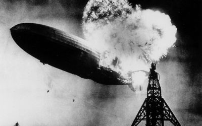 This May 6, 1937 photo, provided by the Philadelphia Public Ledger, was taken at almost the split second that the Hindenburg exploded over the Lakehurst Naval Air Station in Lakehurst, N.J. (AP Photo, File)