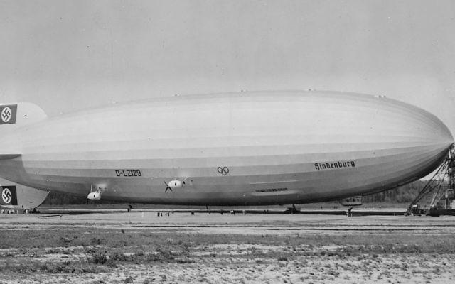 Airship LZ-129 Hindenburg, with Swastika on its tail, on a previous visit to Lakehurst in 1936. (US Department of the Navy. Bureau of Aeronautics. Naval Aircraft Factory, Philadelphia, Pennsylvania)