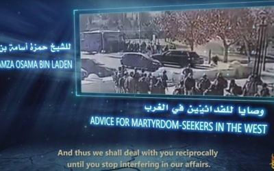 A still from an al-Qaeda propaganda video calling for attacks against Jews and showing a truck-ramming attack in Jerusalem. (screen capture: YouTube)