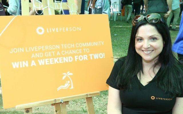 LivePerson's Yael On scouts for software developers at IDC job fair in April 2017 (Courtesy Ofer Amram)