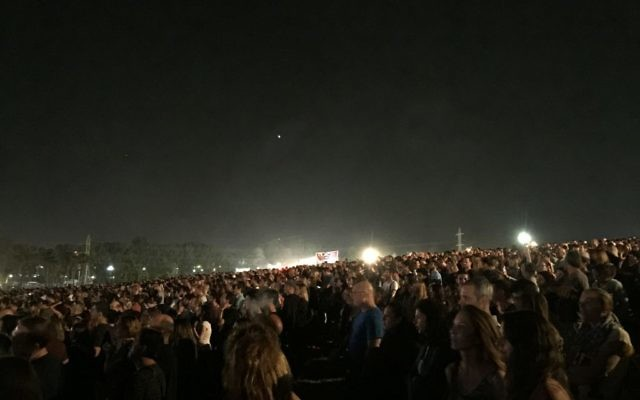 A crowd of an estimated 50,000 concertgoers at Aerosmith's performance Wednesday, May 18 (Jessica Steinberg/Times of Israel)
