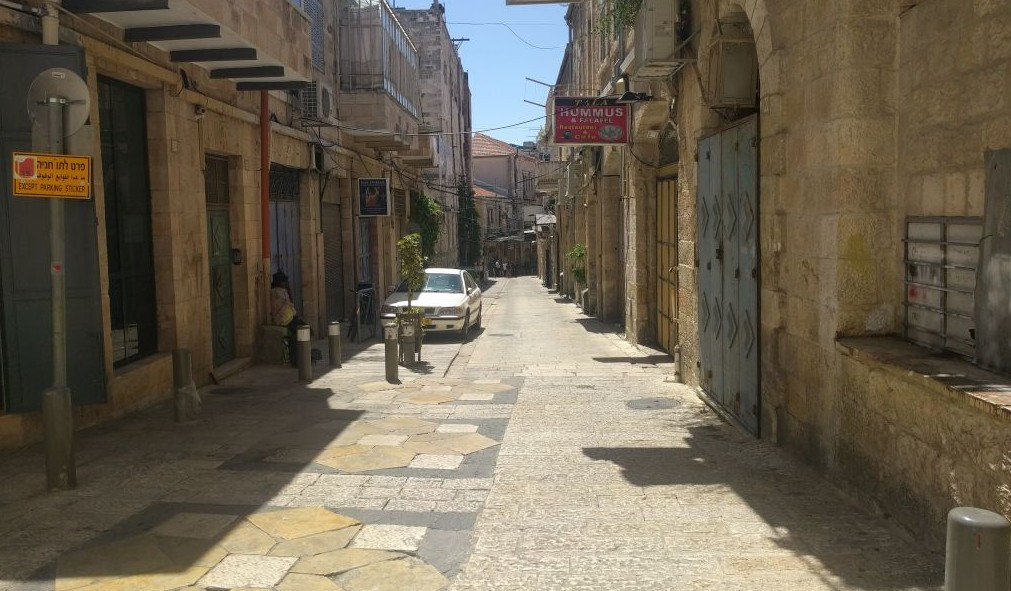 A deserted street in Jerusalem's Old City on May 22, 2017. A general strike and heavy security for the Trump visit emptied the Old City of the regular hustle and bustle of a Monday morning. (Melanie Lidman/Times of Israel)