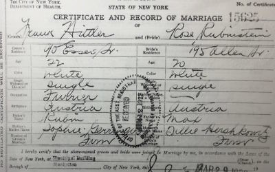 Frank and Rose Hittler's marriage certificate (NYC Municipal Archives via JTA)