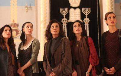 The ladies of the congregation - Tikvah (Orna Banai) , Yaffa (Yafit Asulin) , Ettie (Evelin Hagoel), Ora (Sharona Elimelech), and Margalit (Einat Sarouf) discover the women's balcony in their synagogue has been removed in 'The Women's Balcony.' (Menemsha Films)
