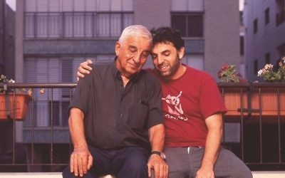 Writer Etgar Keret with his father Efraim, who died a few years ago in a photo from 2006. (Jonathan Bloom)
