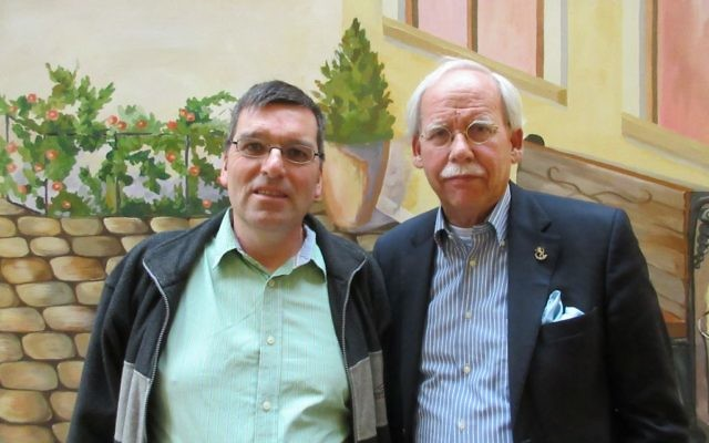Koen Carlier (L), founder of Christians for Israel Ukraine, and Pim van der Hoff, CFI vice chairman, in Odessa, Ukraine, May 12, 2017. (Sue Surkes)
