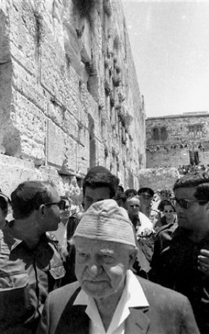 Then Prime Minister David Ben Gurion visits the Western Wall, June 11, 1967. (From the collection of Dan Hadani, National Library of Israel).