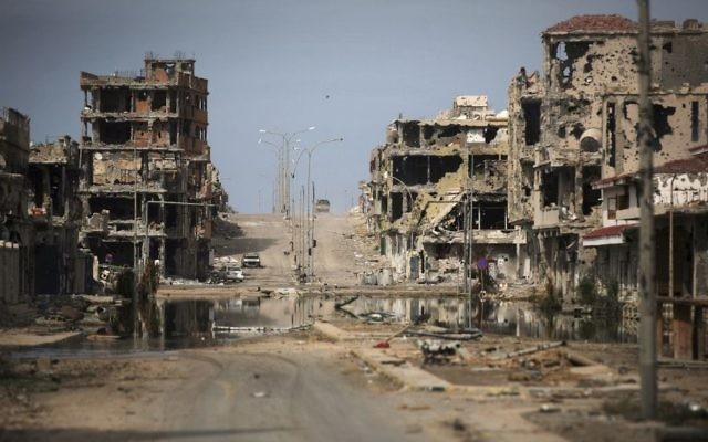 Buildings ravaged by fighting in Sirte, Libya, October 22, 2011. (AP Photo/Manu Brabo, File)