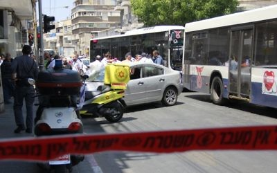 A car crash in Tel Aviv an hour before US President Donald Trump was due to land in Israel raised fears of a terrorist attack until police confirmed it was an accident, on May 22, 2017. (Judah Ari Gross/Times of Israel)