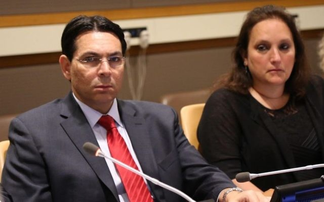 Israel's Ambassador to the UN Danny Danon and Ruth Schwartz, the mother of slain American student Ezra Schwartz, attend a forum at the United Nations in New York on May 24, 2017. (Israel's mission to the UN, courtesy)