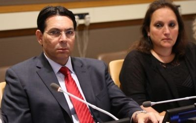Israel's Ambassador to the UN Danny Danon with Ruth Schwartz at the UN on May 26, 2017 (Courtesy)