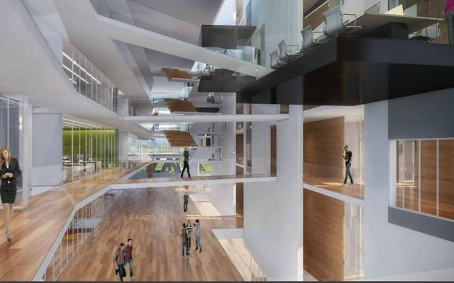 An illustration of the interior of the planned Mobileye office campus (Courtesy: Moshe Tzur Architects & Town Planners Ltd.)