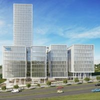 An illustration of the outside of the planned Mobileye office campus (Courtesy: Moshe Zur Architects & Town Planners Ltd.)