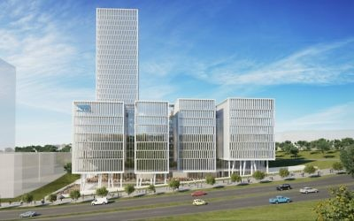 An illustration of the outside of the planned Mobileye office campus (Courtesy: Moshe Tzur Architects & Town Planners Ltd.)