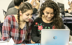 Arab students working on a project at Moona, a nonprofit technology incubator in the Galilee that aims to build bridges between Israeli Jews and Arab youth through space technologies (Courtesy)