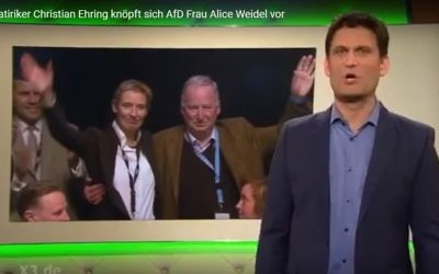 Screen capture from video of German comedian Christian Ehring's labeling of anti-immigration party co-leader Alice Weidel a 'Nazi slut' during a television show. May 2017. (YouTube/Wahlberechtigter)