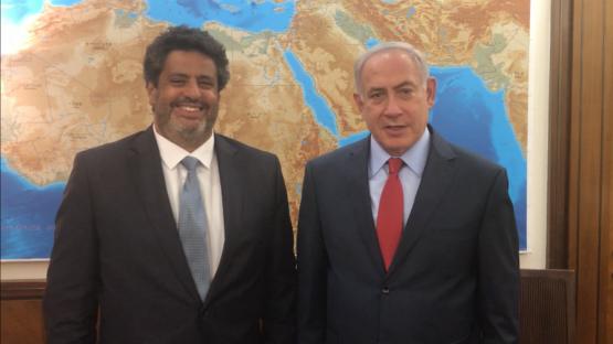 French-Jewish lawmaker Meyer Habib with Israeli Prime Minister Benjamin Netanyahu in Jerusalem in May 2017. (Screenshot)